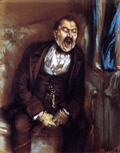 Adolph von Menzel, Man Yawning in a Train Compartment