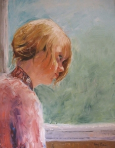 young girl on a train, by Kay Crain