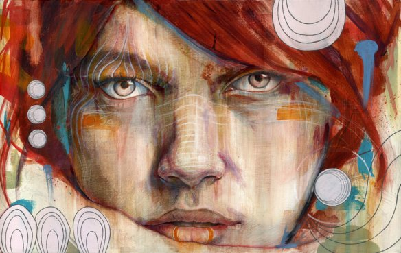 Auburn, 15x24 inches, Acrylic, Graphite, and Oil on Canvas by Michael Shapcott