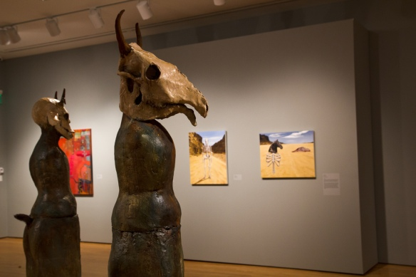 Sculpture- Lisa Osborn, Paintings- Linda Trappey Dautreuil, left, Amy Guidry, center and right